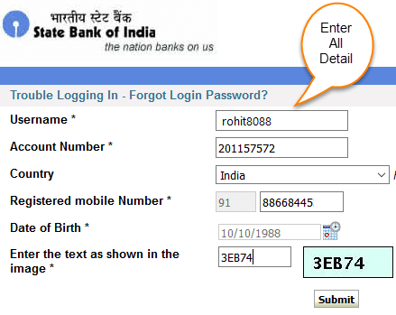 sbi net banking password reset using atm