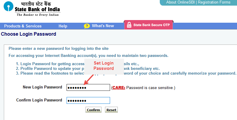 sbi netbanking set login password