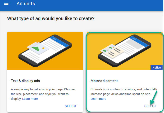 create adsense matched content ad
