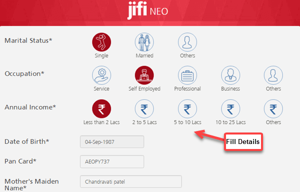 kotak jifi neo account apply