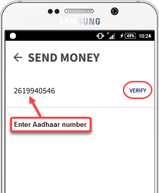 bhim send money aadhaar number