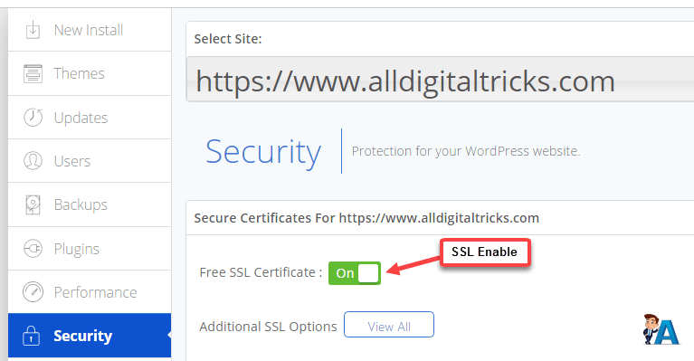 enable free ssl bluehost