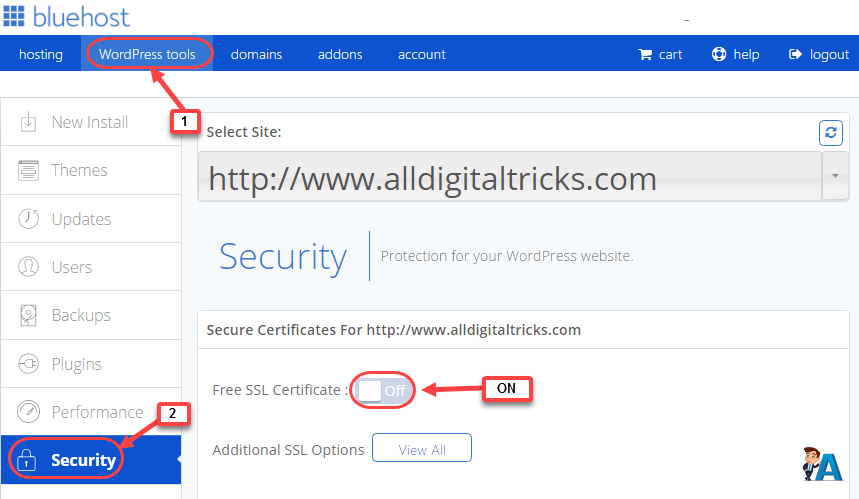 free ssl bluehost