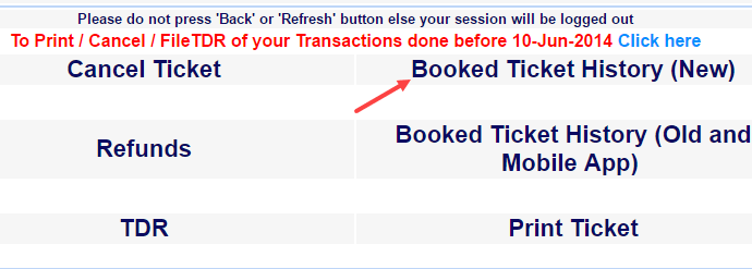 irctc booked ticket history