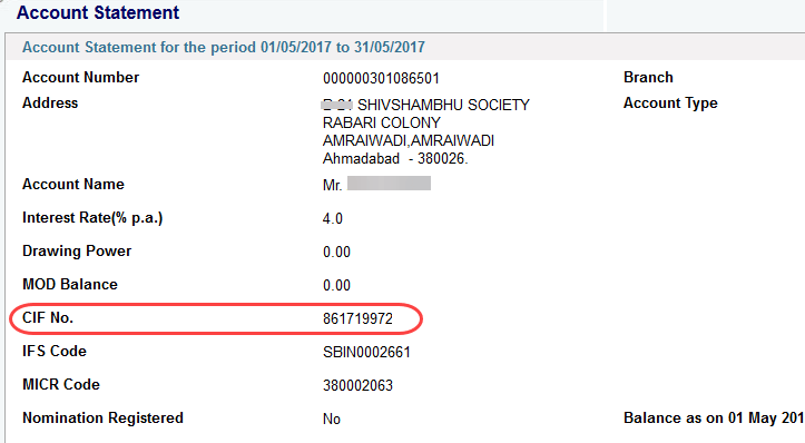 sbi account CIF number view check online