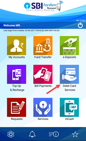 manage Debit card on sbi anywhere