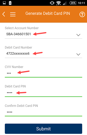 icici debit card pin change generate