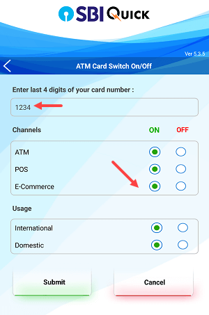 SBi debit card enable International usge