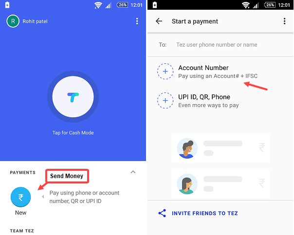 Google Tez send money