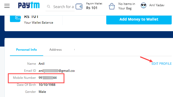 paytm mobile number change