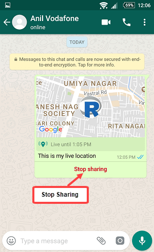 whatsapp live location share