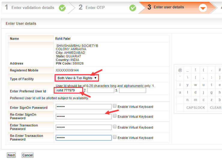 Bank of baroda Net banking activation registration