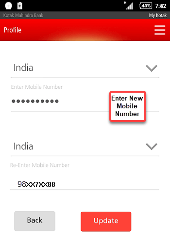 kotak mobile banking change registered mobile number