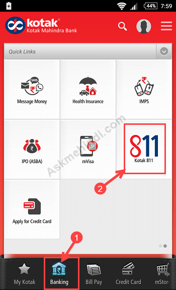 kotak 811 physical debit card apply