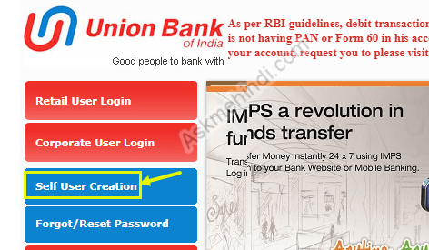 internet banking registration union bank of India