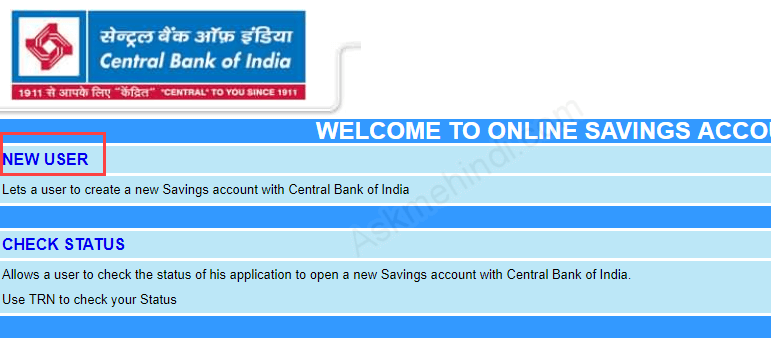 online account open central bank of india