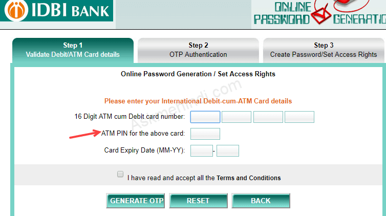 IDBI Bank Net Banking Activation online