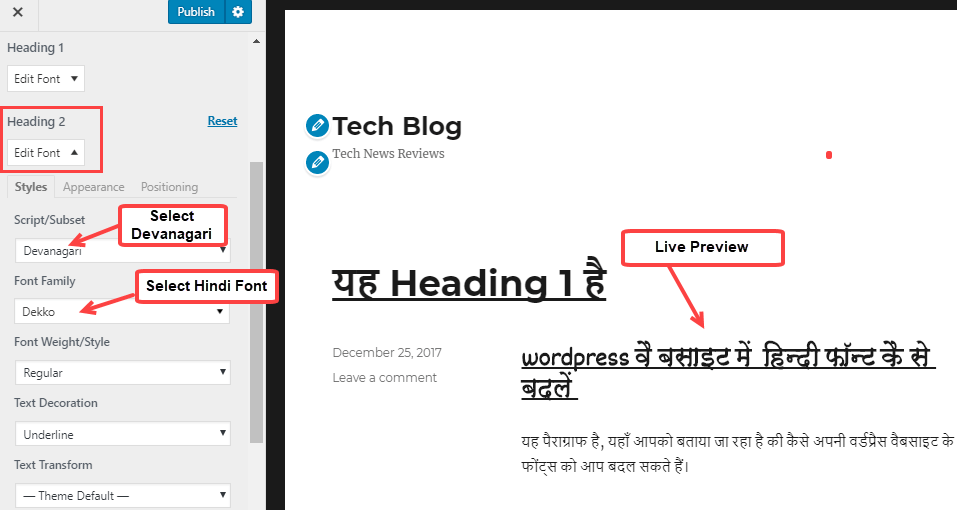 Wordpress change hindi font