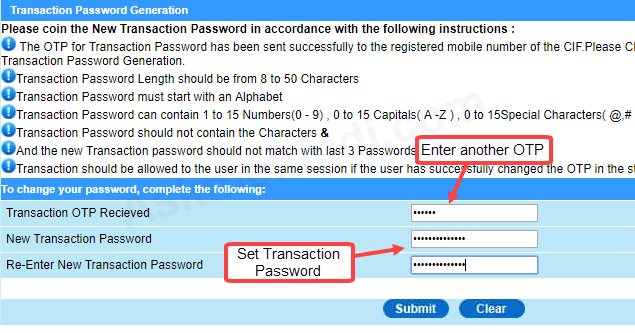 bank of india net banking online password generation