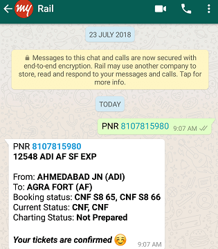 PNR check kare whatsapp par